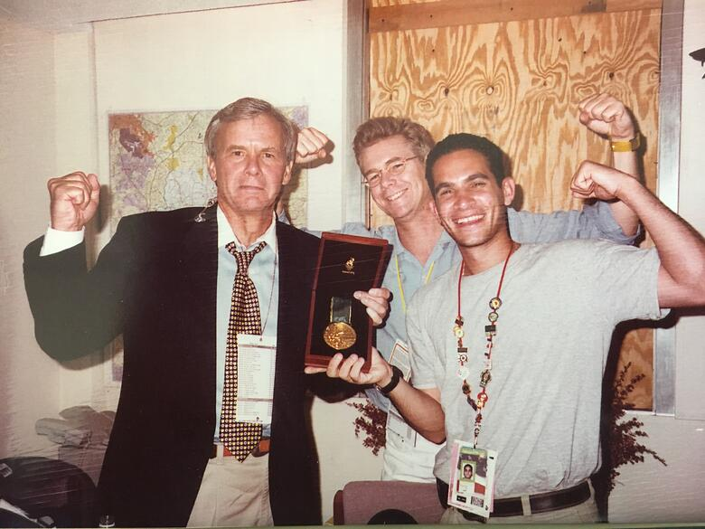 LA 2024 Olympic and Paralympic Bid Process - Tom Brokaw and Danny Koblin with Carl Lewis Gold Medal