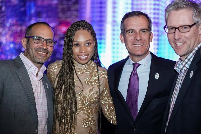 LA 2024 Olympic and Paralympic Bid Process - Danny Koblin, Allyson Felix, LA Mayor Garcetti and LA 2024 COO John Harper
