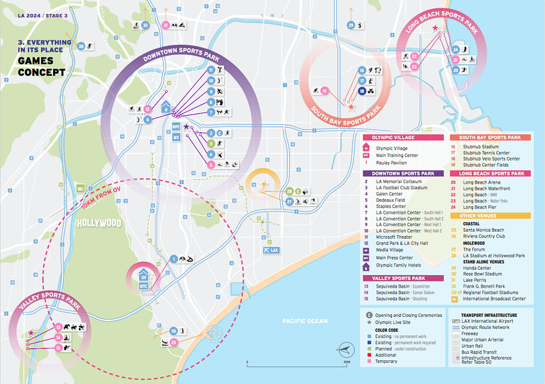 LA 2024 Olympic and Paralympic Bid Process - Venue Map