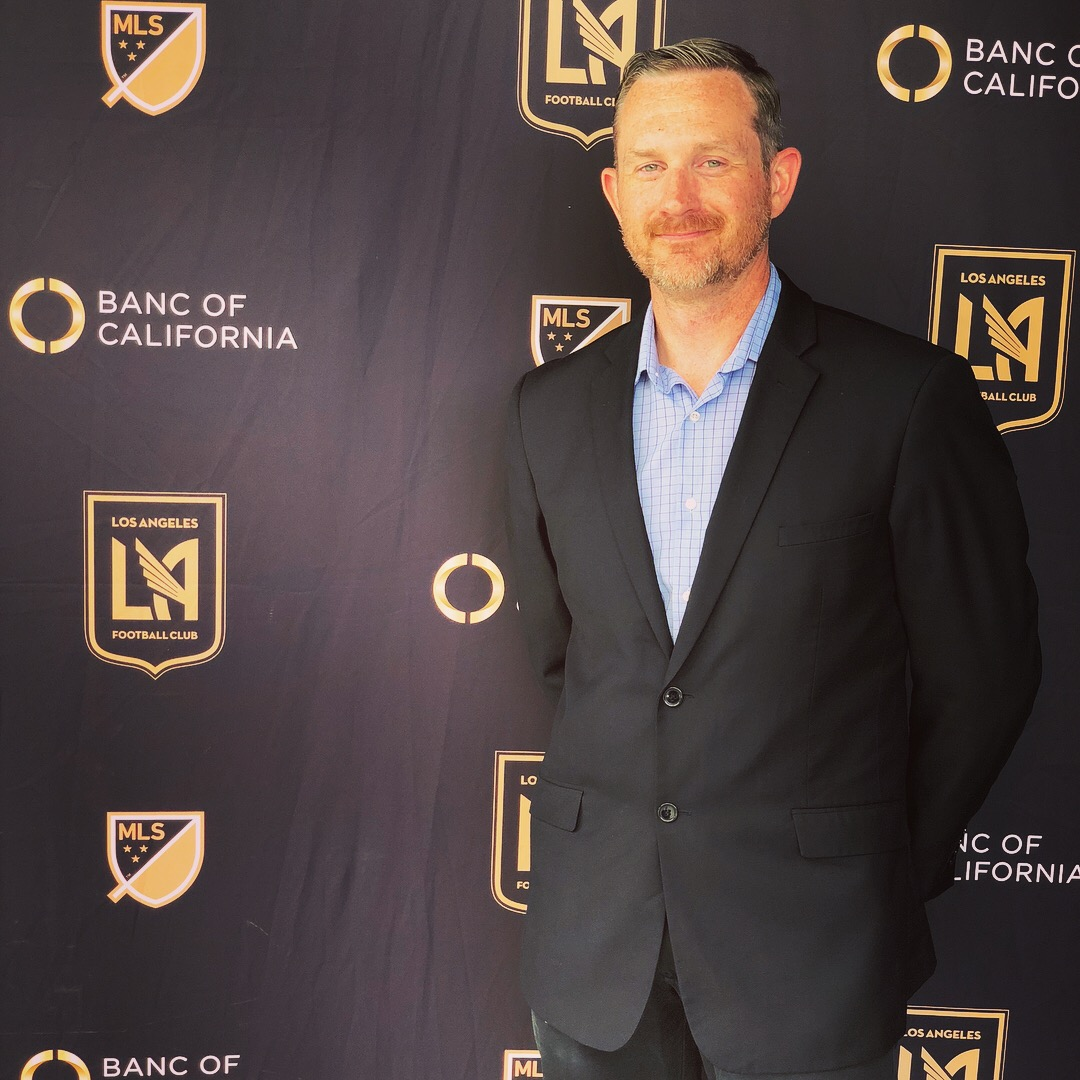 Brian at the ribbon cutting for the Banc of California Stadium