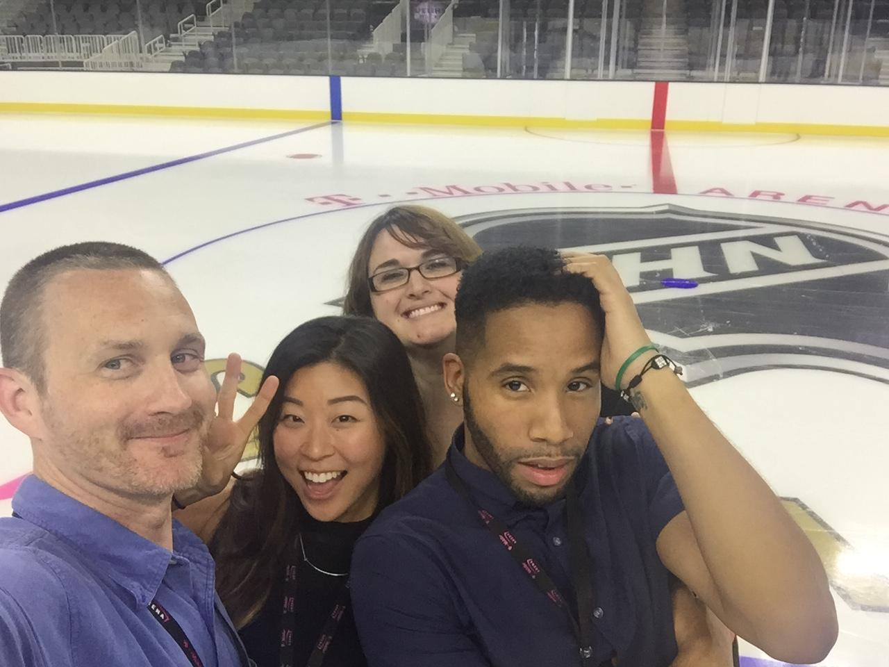 Brian and his box office team on the ice the first time they put ice in at T-Mobile Arena.  It was just the NHL logo at that time because the Vegas Golden Knights hadn't a picked a name yet.