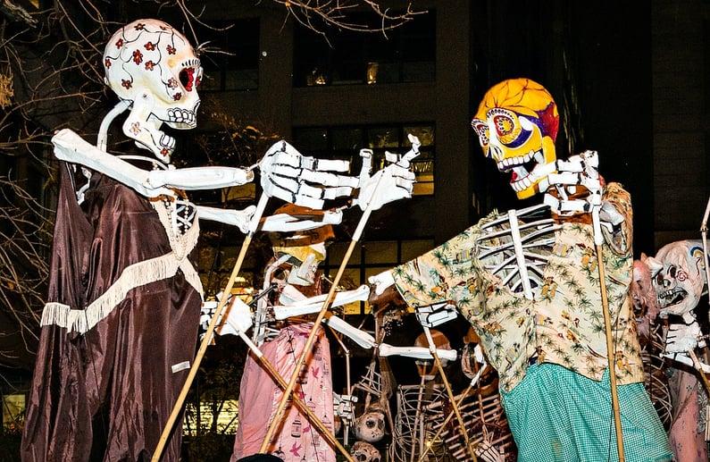 Village Halloween Parade Skeletons