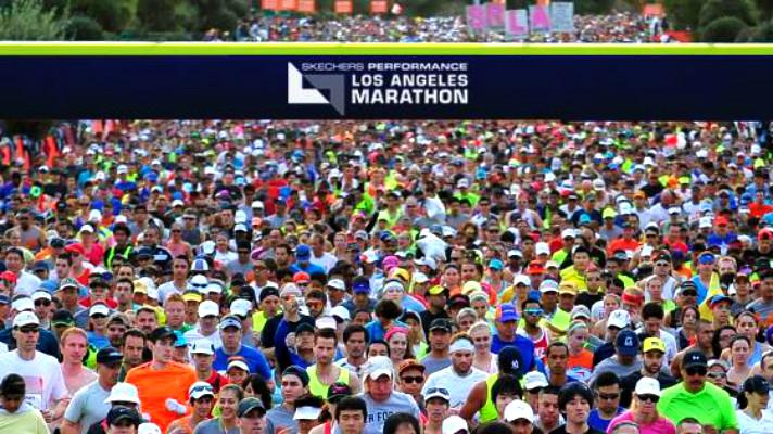 LA marathon starting line Murphy Reinschreiber Conqur Enduarance Group